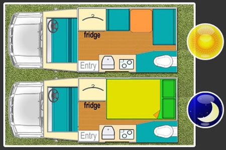 Floor plan - Bobo Campers, Discoverer Fun X2