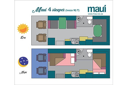 Floor plan - Maui, 4-Berth Camper 4STi