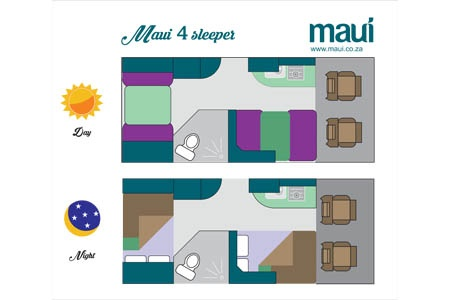 Floor plan - Maui, 4-Berth Camper STL