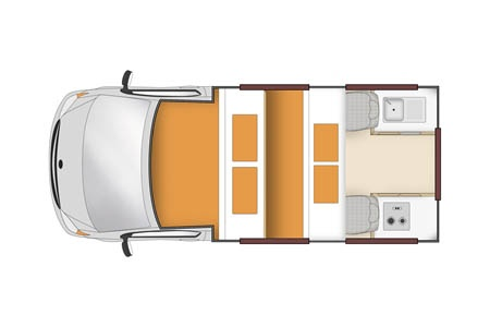 Floor plan - Apollo Motorhome Holidays, Endeavour Camper