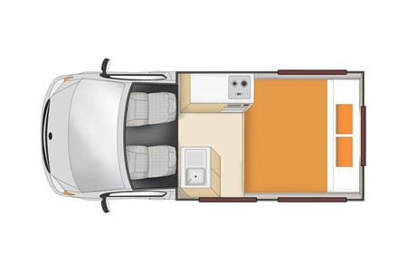 Floor plan - Apollo Motorhome Holidays, Hitop Camper