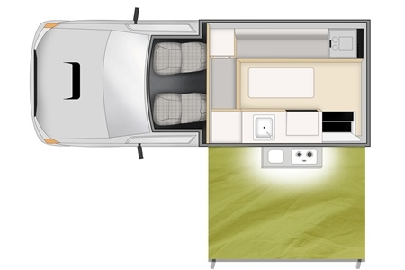 Floor plan - Apollo Motorhome Holidays, 4WD Adventure Camper