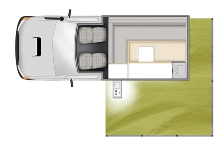 Floor plan - Apollo Motorhome Holidays, 4WD Trailfinder