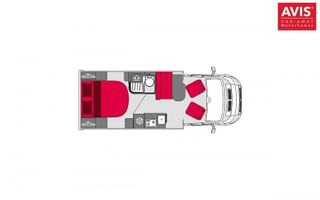 Floor plan - Avis Car-Away, Classic B 2-Berth