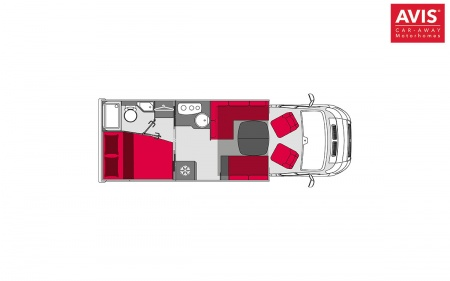 Floor plan - Avis Car-Away, Classic B 4-Berth