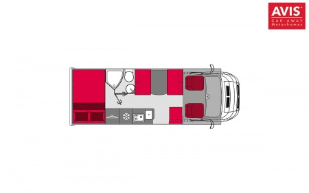 Floor plan - Avis Car-Away, Classic C 6-Berth