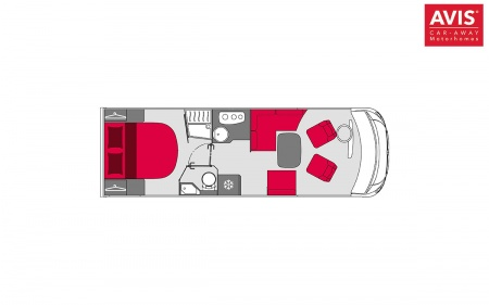Floor plan - Avis Car-Away, Comfort A 4-Berth with double bed