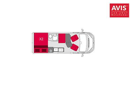Floor plan - Avis Car-Away, Camper Van Plus