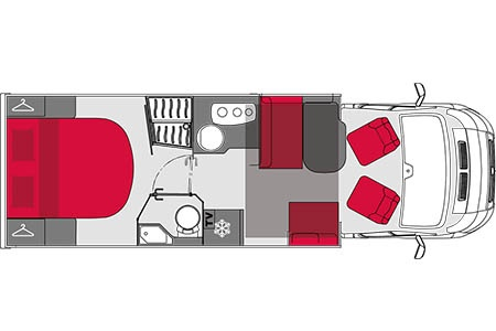 Floor plan - Avis Car-Away, Comfort B 4-Berth Automatic + GPS