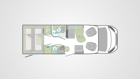 Floor plan - Bunk Campers, Aero Plus 4-Berth Campervan