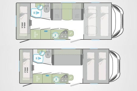 Floor plan - Bunk Campers, Grande 6-Berth Motorhome