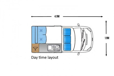 Floor plan - Bunk Campers, Roadie 2-Berth Campervan