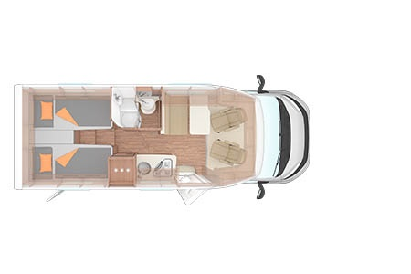 Floor plan - Bunk Campers, Aero Plus 4-Berth Motorhome