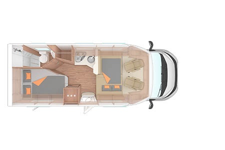 Floor plan - Bunk Campers, Europa 4-Berth Motorhome