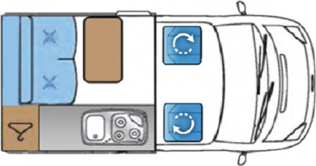 Floor plan - Bunk Campers, Nomad 2-Berth Campervan