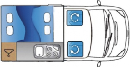Floor plan - Bunk Campers, Ranger 4-Berth Campervan