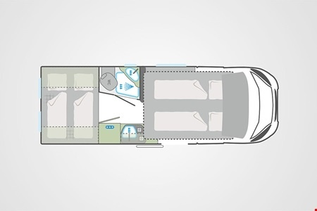 Floor plan - Bunk Campers, Vista 4-Berth Campervan