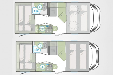 Floor plan - Bunk Campers, Vista-Plus 4-Berth Campervan