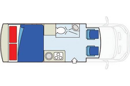 Floor plan - CanaDream, Deluxe Van Camper DVC