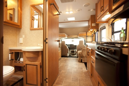 driver's cabin, kitchen and bathroom