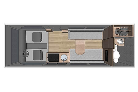 Floor plan - Four Seasons RV Rentals, Van Conversion