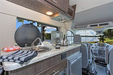 Interior view - Four Seasons RV Rentals, Van Conversion