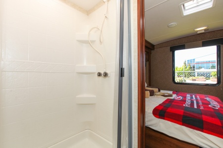 shower and rear double bed