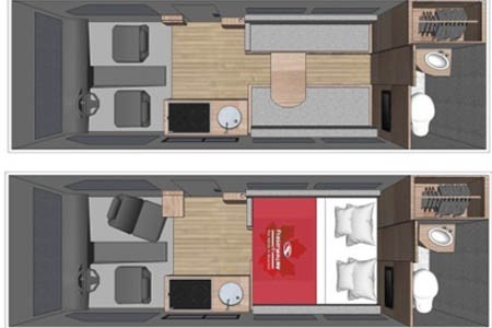Floor plan - Fraserway RV Rentals, Van Conversion VC 2019