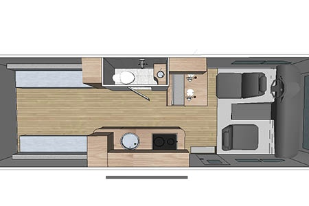 Grundriss Fraserway RV Rentals Van Conversion VC 2020