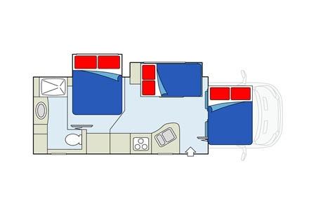 Floor plan - Apollo Motorhome Holidays, Sunrise Escape