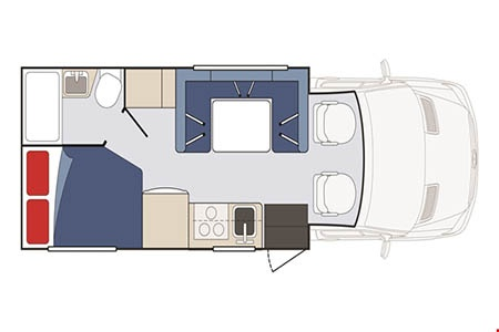 Floor plan - Apollo Motorhome Holidays, Pioneer C22 (2018)