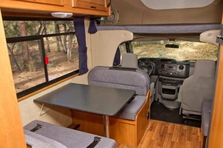 living area and driver's cabin
