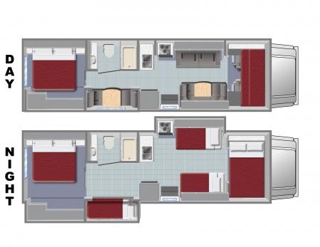 Floor plan - El Monte RV Rentals, FS31/Class C Family Sleeper