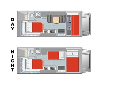 Floor plan - Mighty Campers, Motorhome M22