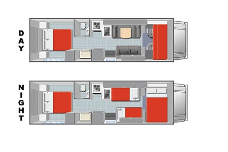 Floor plan - Mighty Campers, Motorhome M28